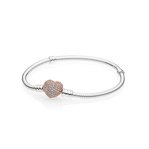 18K Rose Gold CZ Diamond Pave Heart Clasp Bracelet Original Box for Pandora 925 Sterling Silver Women Wedding Gift Charm Bracelet Set