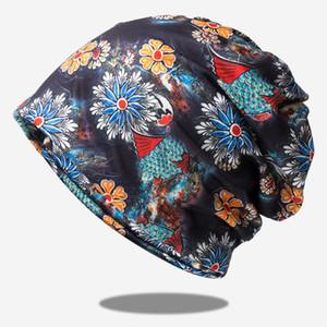 Printed bib turban hat women's hooded elastic dual-purpose pile cap winter hats for women bonnets bucket hat