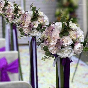 Dekoratif Çiçekler Çelenk 3D Yapay Çiçek Duvar ve Masa Koşucu Düğün Parti Backdrop Dekorasyon için GY6151