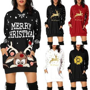 2021 Women's Dresses Fashion Christmas Hoodie Bag Hip Pocket Print Hoodie Fashion Dress jersey dresses for women