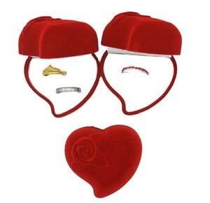 Coração em forma de caixa de anel casamento vermelho flocando pano jóias caixa de embalagem Coração de pêssego rosa Única e dupla caixas de anel