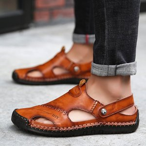Hot Sale-Summer New Style Flip Flops Men Leather Genuine Leather Closed-toe Fashion Cowhide Split Toe Outdoor Wear Slippers Men Shoes