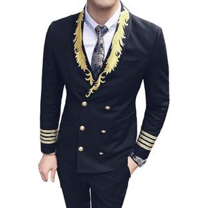 Stage Dress Men Double-breasted Suit ( Jacket + Vest + Pants ) High-end Fashion Embroidery Wedding Dress Bridegroom Suit Men