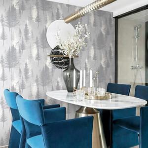 Modern Nordic Gray Forest Tree Wallpapers Bedroom Living Room Study Restaurant TV Background Non-woven Wallpaper hudas beauty