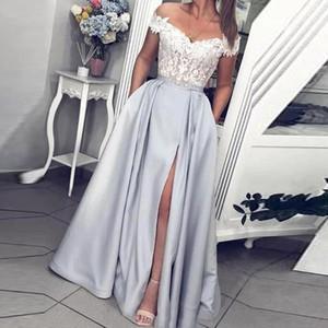 2021 회색 저렴한 팬 드레스 레이스 아랍어 캡 슬리브 포켓이있는 공식 파티 가운 새틴 높은 스플릿 어깨 이브닝 가운 떨어져