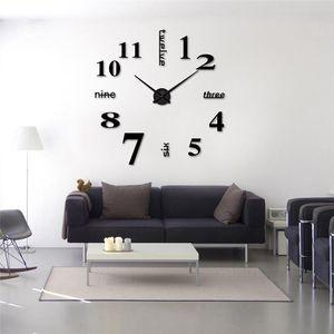1pc New Clock Watch Wall Clocks Horloge 3D Diy Acrylic Mirror Stickers Home Decoration Living Room Quartz Needle free shipping
