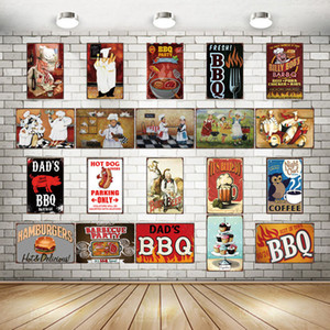 2021 BBQ French Chef Tin Signs Metal Plate Wall Pub Kitchen Restaurant Home Art Decor Vintage Wall Sticker Cuadros Chic Modern Painting