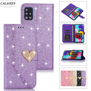 Sparkle Bling Case For Samsung Galaxy A51 A71 A41 A70 A50 A40 A30 A20 E A10 J4 J6 Plus A6 A7 2018 Leather Flip Wallet Card Cover