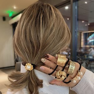 Mengjiqiao 2020 Fasgion Elatic Bant Kadınlar Için Metal Taç Kauçuk Hairbands Zarif Inci Scrunchie Saç Aksesuarları Takı