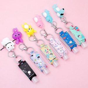 Pu Leather Children Cartoon Hand Sanitizer Bottle Holder Leather Case Keychain Disinfectant T-shaped Bottle Holder Bag Pendant IIA903