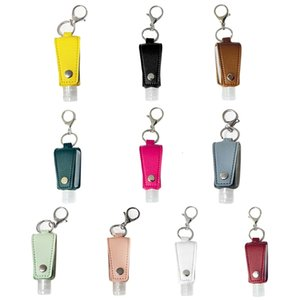 Travel Portable 30ml Clear Empty Bottle with Faux Leather Keychain Holder Carrier Refillable Hand Sanitizer Container