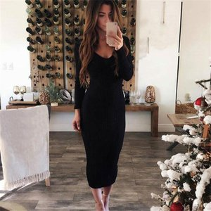 Autumn Ladies Dress Sexy V Neck Long Sleeve Pencil Dress Solid Color Skinny Middle Calf Long Plus Size Women