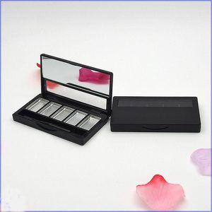Container de batom vazio de paleta de sombra 5 grades DIY Eyeshadow Embalagem compacta com o recipiente de maquiagem de pincel de lábio de alumínio