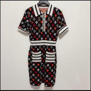Runway Dress 2020 التلبيب الرقبة قصيرة الأكمام إلكتروني طباعة مصمم اللباس العلامة التجارية نفس نمط اللباس 1123