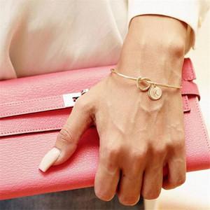 GOLD Letter A-Z DIY bracelet customization initial Open knotted fashion bracelet charm bracelets for women