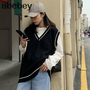 Vests Women Simple All-match Patchwork Korean Style V-neck Knitted Trendy Womens Leisure Students Sleeveless Female Vintage New