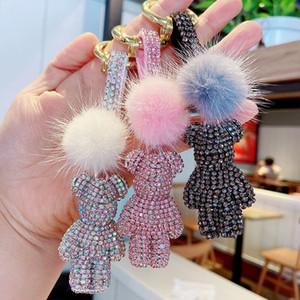 Mink hair claw diamond violent bear car keychain cute diamond bear doll bag pendant accessory charm female gift