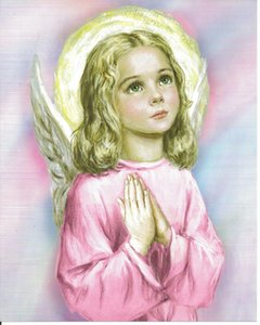 Catholic Picture SWEET PINK GUARDIAN ANGEL praying Little Girl Religious Home Decoration Oil Painting On Canvas Wall Art Pictures 201123