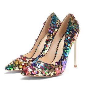 Più nuovo Spedizione gratuita Spedizione gratuita personalizzata Hight Quality High Heel Beay Paillette Sexy Party Donne Delle Scarpe Dress Shoes Ladies Stilotto Calzature