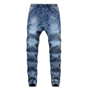 Erkek Yüksek Stretch Elastik Skinny Kargo Jeans İnce Ayaklar Erkek Mavi Yıkama Elastiki Kalem Pantolon Gündelik Denim Uzun pantolonlar