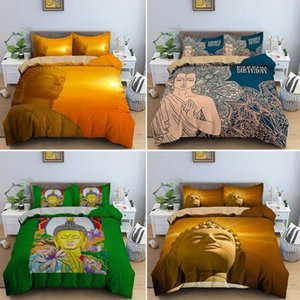 Customize King Bedding Set Buddha With Sunset Printed Queen Size Duvet Cover 2 3pcs Bed Sets Soft Quilt Covers Pillowcase