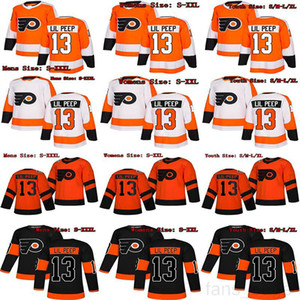 Custom Fashion Star Lil Peep #13 Philadelphia Flyers Hockey Jerseys Stitched Name Number Orange Black White Men Women Youth Kids Jerseys