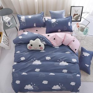 Cartoon Clouds Print Bed Cover Set Kids Girl Duvet Cover Adult Child Bed Sheets And Pillowcases Comforter Bedding Set 61038