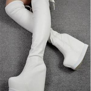 2020 및 16cm 겨울 새로운 하이힐 웨지 무릎에 웨지 stovepipe boots 3yyi