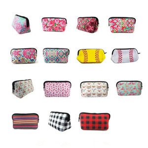 Neoprene Makeup Bag Lilly Floral Travel Case Rose Neoprene Accessories Cosmetic Bag 15 Style BWC4021