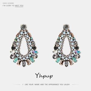 Yhpup mode strass kristall geometrische baumeln ohrringe bunte glas oorbellen für braut frauen party schmuck1