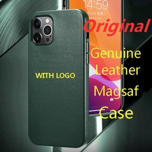 Original Genuine Leather Magsafing Case For iPhone 12 Pro Max mini Shockproof Magnetic Cover for Wireless Charge Cases With Logo