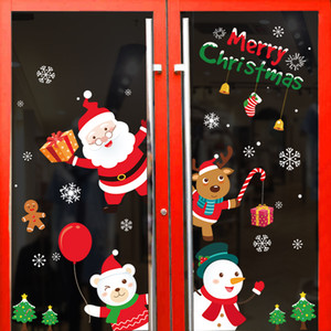 New DIY Santa Elk Christmas PVC Window Static Sticker Beautify Home Windows Large Snowflake Wall Sticker New Year Glass party decoration