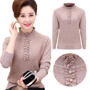 Middle-aged Womens Pullovers Autumn Winter Mother Clothing Cashmere Sweater Turtleneck Knitted Bottoming Shirt Plus size W1521