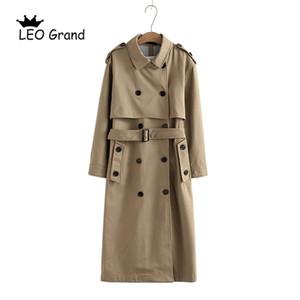 Vee Top 여성 캐주얼 솔리드 컬러 더블 브레스트 아웃웨어 패션 슈즈 오피스 코트 세련 된 epaulet 디자인 긴 트렌치 902229 201120