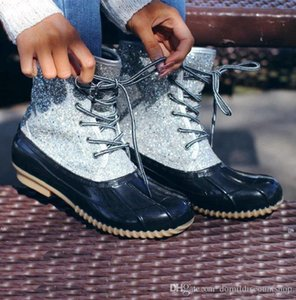 Woman Glitter Slip Duck Boots 2019 new fashion Ankle Adults Non-slip Waterproof Breathable Shoes Sequin Rain Shoe