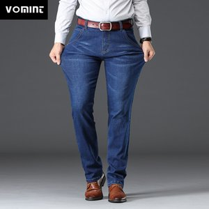 Vomint Mens Jeans Business Regular прямая полная длина джинс повседневная джинсовые брюки упругость эластичность ткань брюки