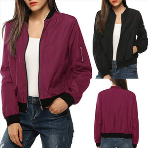Womens Casual Jacket Autumn Classic Zipper Up Long Sleeve Bomber Quilted Jacket Short Bomber Outwear Ladies Coat 40