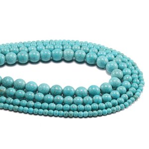 1strand Lot Created Beads 4 6 8 10 12 Mm Smooth Natural Green Turquoises Round Loose Spacer Bead For Jewelry Making Diy H bbyoYu