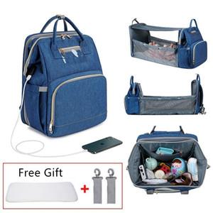 Baby Diaper Portable Fold Bed Backpack Sunshade Mummy Maternity Waterproof Nappy USB Charging Large Capacity Bag Q1113