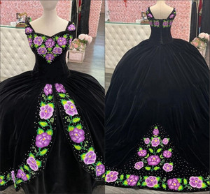2021 Black Charro Quinceanera Dresses Sweet 16 Dress Vintage Green And Lavender Flower Embroidered Sweetheart Lace-up Ball Gowns Plus Size