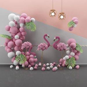 Foto Hintergrund Flamingo Geburtstagsfeier Rosa Ballon Tropische Palme Blätter Baby Fotografie Hintergrund Foto Studio Photocall