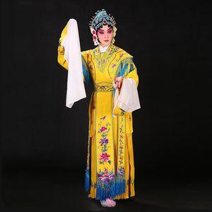 Çin Drama Giyim Kadın Klasik Dans Giyim Huangmei Opera Kostüm Işlemeli Çiçekler Elbise Kraliyet Sahne Performansı Hanfu