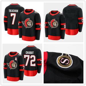 2021 Ottawa Senadores 7 Brady Tkachuk 72 Thomas Chabot Black 2020/21 Home Premier Player Jersey