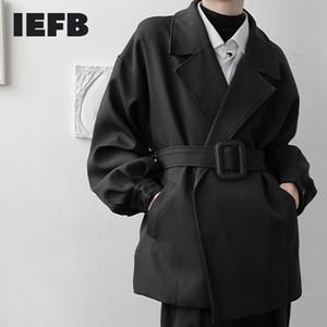 IEFB / Herren Tragschnalle Kurz Stil Windjacke Mantel 2020 Neue Herbst gekerbte Kragen Langarm Große Grabengraben mit Gürtel 2020