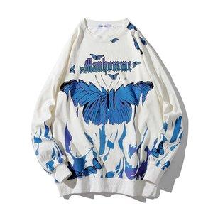 Borboleta Flama Imprimir sweatshrit homens Streetwear Hip Hop ocasional de manga comprida pullover Homens Harajuku Hipster Moda Tops C1117