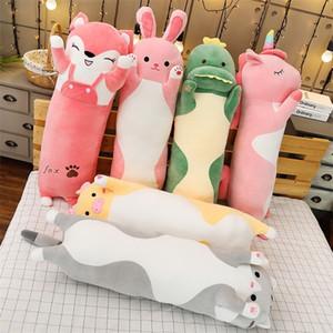 Cartoon Long Animals Plush Toy Squishy Sleeping Friend Stuff Cat Bunny Pig Fox Dinosaur Unicorn Doll Christmas Gift 70 90 120cm 201216