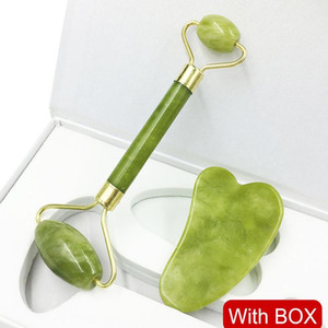 Natural Jade Roller With Gift Box Heart Guasha Scraping Board Slimming Face Lifting Facial Massager Facial Skin Beauty jllwbZ