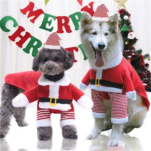 Medium and large dog and cat Santa Claus clothes dog pet supplies autumn and winter fleeces funny cute two feet four feet change
