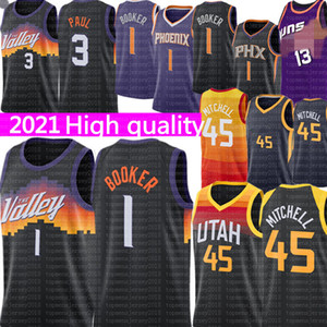 New Devin 1 Booker Jersey Black Chris 3 Paul Jersey Herren Donovan 45 Mitchell Basketball Trikots 2021 Phoenix