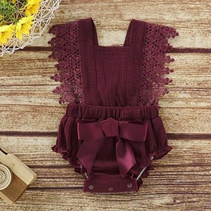 2019 Kids Girls Designer Clothes Summer Lovely Newborn Infant Baby Girls Romper Ruffles Sleeve Solid Bow Backless Jumpsuits Outfits 1L2QW